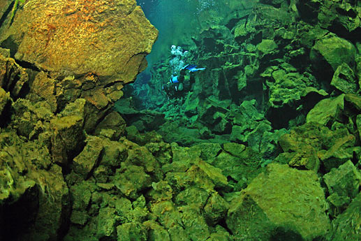 Diver in lake Thingvellir